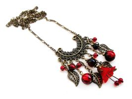 FOR SALE Lucite flower necklace in red and black by Benia1991