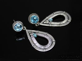 Swiss blue topaz and zircon earrings by IMNIUM