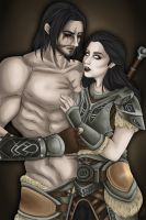 Ebonyth and Farkas SKYRIM by JulietEssence