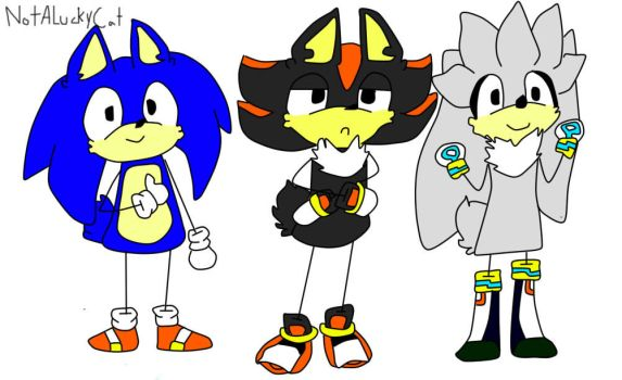 Shadow ,Silver and Sonic stick figures by NotALuckyCat