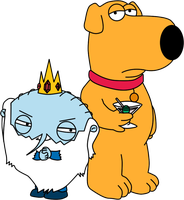 Ice King Stewie and Brian by ropa-to