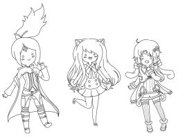 AT Vocaloid girls lineart by KimikoTohomikomii