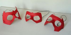 Trio of Red Leather Masks by nondecaf