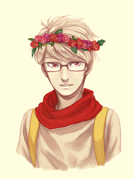 Flower crown on a hipster by PandaleonSaa