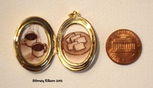 Coffee and Biscuits in Oval Locket by sidneyeileen