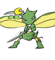Scyther vs bellsprout by Ed-Ramos