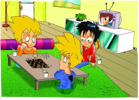 Goku And Luffy A Relaxing game of chess by battlefieldHEDGEHOG