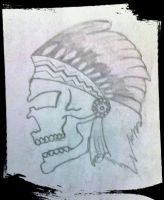 a small work.....a red indian in the frm of skull by palashD