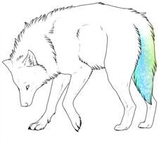 rainbow wolf tail adoptable by HotChiliPenguin