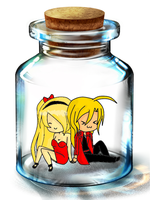 Winry and Ed in a bottle by Kagome-245