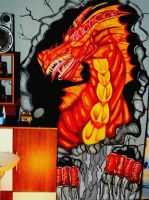 Smaug on the Wall (mural) by emeraldnephilim8