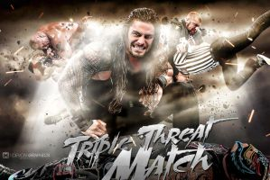 wwe roman  against triple h and lesnar wallpaper by workoutf