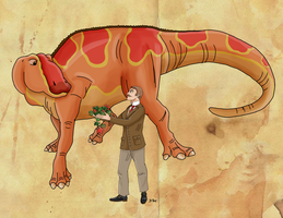 Lawrence Lambe and his Edmontosaurus by Pelycosaur24