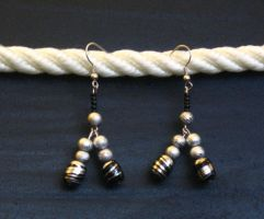 Black and Silver Duo Earrings by LadyTal