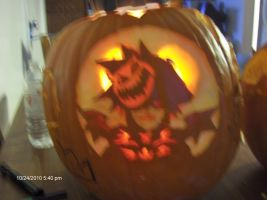 lit up Sora pumkin carving by imspiritb