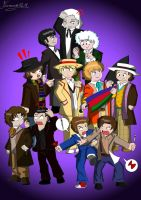 Doctor Who Chibi 11 Doctors by Ferrlm