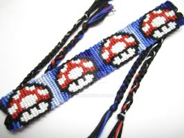 Super Mario Mushroom Friendship Bracelet by piggyfan2
