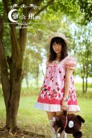 White moon pink strawberry Short lolita dress by miccostumes