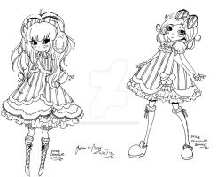 Pink Chocolate Lolita Design uncolored by CaramelMoelleux