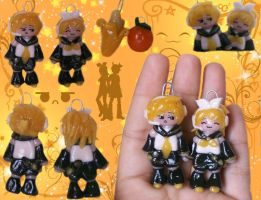 Kagamine Rin, Len Clay Charms by Beca1591