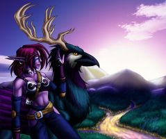 Night Elf and Hippogryph by evion