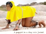 A girl in a dog rain jacket by Shahrack
