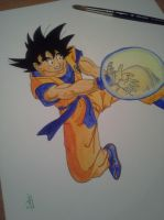 Goku Starting a Kame-Ha! by delPuertoSisters