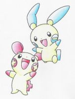 Plusle and Minun by RyuKais-Comix
