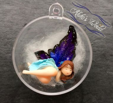Tiny blue and purple fairy christmas ball by Akiko-s-World