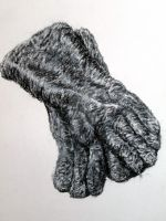 fuzzy gloves by SilverWoodSketches