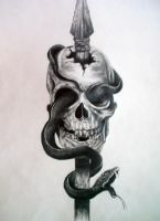 skull with snake by Piara