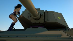 Wonder Woman bends and yanks the turret off a tank by DahriAlGhul