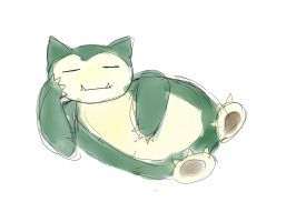 Coloring Practicing 03 Snorlax by WaffleMint