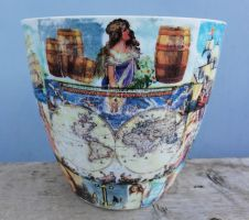 Plastic flower pot, old maps, medieval explorers by naraosart