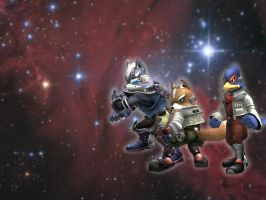 Wolf-Falco-Fox-Brawl Wallpaper by Mad-But-Happy