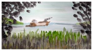 Watercolour Bay Study by Gemneroth