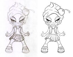 Girl Muffin Lineart Process by AbrahamGart