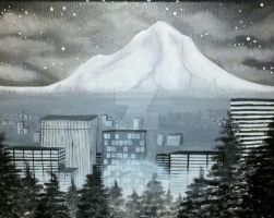 Portland Oregon Mt Hood from Mt Tabor Painting by nandamicole