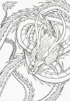 Lineart: Asian dragon by kxeron