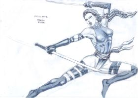 Psylocke Flying Kick by deemonHunter360