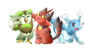 Dartrix, Torracat, and Brionne
