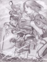Anime Drawing - Shingeki no kiojin by Sukendo