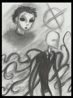 Masky and Slenderman doodle by Cageyshick05