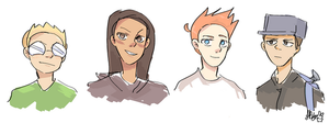Four Activity Club Members by Sky-Ribbons