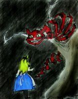 Cheshire Cat and Alice by Black-Velvet-89