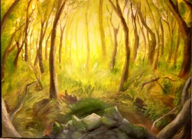 forested painting by mountainlaurelarts
