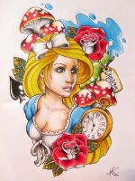 Alice In Wonderland tattoo design by Frosttattoo