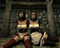 Two maids tied up and  gagged 3 by skygaggedrim