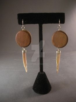 Wood and shell earrings by SarahD1988