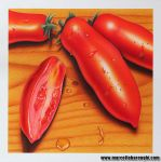 Tomatoes and drops drawing by marcellobarenghi